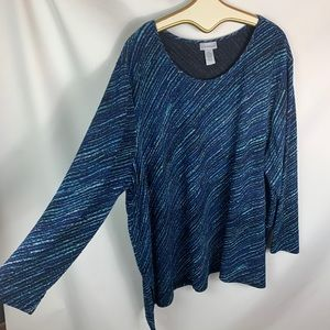 Catherines 5X diagonal him blue black stretchy top
